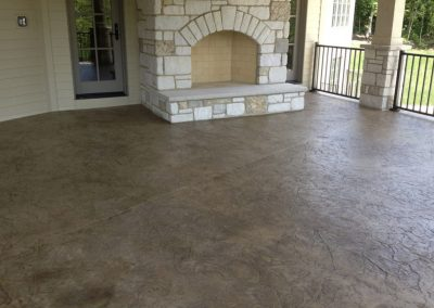 stamped concrete fire place